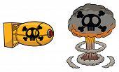 Cartoon atomic bomb and atomic mushroom cloud.