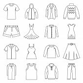 Different Clothes Icons Set. Outline Illustration Of 16 Different Clothes Items Icons For Web poster