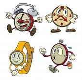 Cute cartoon clocks and watches. All in separate layers for easy editing.