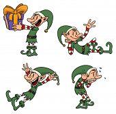 Elf de dibujos animados lindo en diferentes poses. Todos los elementos en capas separadas para poder editarlos fácilmente.