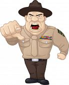 Angry cartoon drill sergeant. Vector illustration with simple gradients.