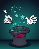 Illustration of a magician's hat. Vector illustration with simple gradients. All elements on separat