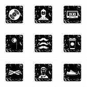 Hipster Culture Icons Set. Grunge Illustration Of 9 Hipster Culture Icons For Web poster
