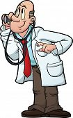 Cartoon doctor using stethoscope. Vector image with simple gradients.