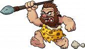 Cartoon caveman running with a spear in hand. Vector illustration with simple gradients. All in a si