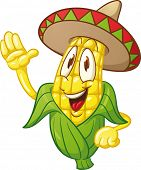 Cute cartoon corn wearing a sombrero. Vector Illustration with simple gradients.