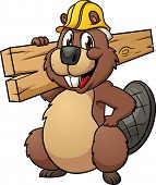 Cute cartoon beaver wearing a construction hat and holding a plank of wood. Vector illustration with