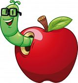 Cartoon worm coming out of an apple. Vector illustration with simple gradients. All in a single laye