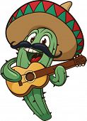 Cute cartoon mariachi cactus singing. Vector illustration with simple gradients. All in a single lay