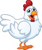 Happy white hen. Vector illustration with simple gradients. All in a single layer.