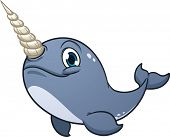 Cute cartoon narwhal. Vector illustration with simple gradients. All in a single layer.