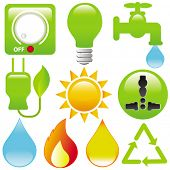 Vector Icons : Energy Saving (light, water, electricity, fire, solar power) isolated on white