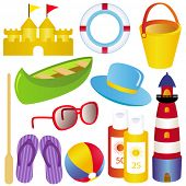 Cute and colorful vector Icon Set : Summer, sand, sea, SPF, sandals