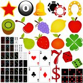 Vector Collection : Casino and Gambling. Colorful icon set, isolated on white