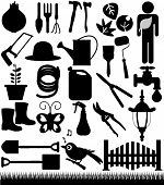 A set of Vector Silhouette - Shovels, Spades, and Garden tools