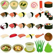 A vector set of Food Icons : Japanese Cuisine - Sushi, Soup