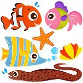Постер, плакат: Красочные набора милый животное векторные иконки: рыба и морепродукты жизнь