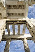 Beneath The Propilea On Acropolis In Athens