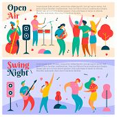 2 Sets Of Colorful Modern Flat Characters For Jazz, Rock, Blues Music Fest-singer, Musicians, Guitar poster