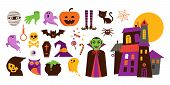Happy Halloween Hand Drawn Stickers, Icons, Elements poster