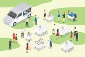 People Providing Catering At Formal Event Or Occasion. Group Of Food Service Workers Setting Tables, poster