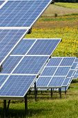 solar panels with the sunny sky. Blue solar panels. background of photovoltaic modules for renewable poster