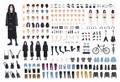 Goth Or Metal Rocker Creation Set. Collection Of Teenagers Body Parts, Various Subcultures Attribu poster