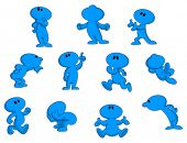 Cartoon character in various poses