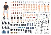 Football Or Soccer Player Creation Kit. Bundle Of Mans Body Parts, Poses, Sports Clothes, Exercise  poster