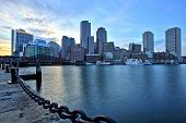 Boston Skyline With Financial District And Boston Harbor At Sunset poster