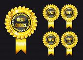 set of black award labels isolated over black background