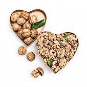 Walnut Kernels In Heart Shaped Box, Whole Walnuts And Nutshells As Healthy Eating And Alternative Me poster
