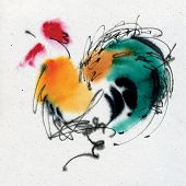 Colorful cock. Calligraphy and watercolor on the textured paper.
