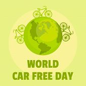 Earth Car Free Day Background. Flat Illustration Of Earth Car Free Day Vector Background For Web Des poster