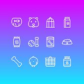 Vector Illustration Of 12 Pet Icons Line Style. Editable Set Of Kibble, Bone, Fishbowl And Other Ico poster