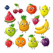 Cartoon Funny Fruits. Happy Kiwi Banana Raspberry Orange Cherry With Face. Summer Fruit And Berry Ve poster