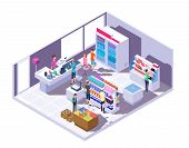 Isometric Grocery Store Interior. Supermarket Interior With Shopping People And Food On Shelves And  poster
