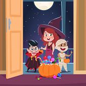 Halloween Trick Or Treat Background. Kids In Halloween Costumes With Candies In Doorway. Spooky Octo poster