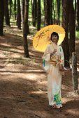 girl wear yukata and umbrella