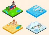 Diverse Climate Clip Art Set. Isometric Clip Art Of Diverse Climate Concept Vector Icons For Web Iso poster