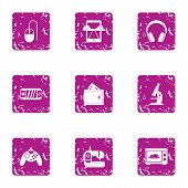 Play Mechanics Icons Set. Grunge Set Of 9 Play Mechanics Vector Icons For Web Isolated On White Back poster