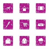 Walking Cloudy Icons Set. Grunge Set Of 9 Walking Cloudy Vector Icons For Web Isolated On White Back poster
