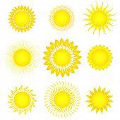 Set of sun vector. Elements for design.