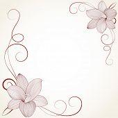 Vintage frame with flower lily. Element for design.