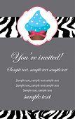 Blue cupcake invitation card