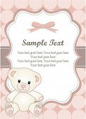 baby girl greeting card with teddy bear