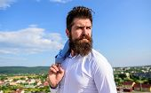 Guy Reached Top But Feel Frustrated. Motivation And Ambitions Concept. Hipster Beard Mustache Looks  poster
