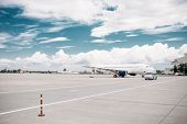 Passanger airplane on aircraft parking, nobody poster