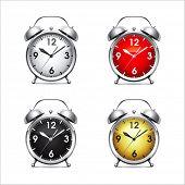 Set vector  illustration of a metal alarm clock.
