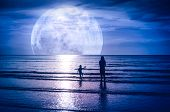 Super Moon. Colorful Sky With Bright Full Moon Over Seascape. Silhouette Of Mother With Her Child Pl poster